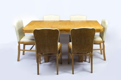 Antique Art Deco Birdseye Maple Dining Table &amp 6 Chairs