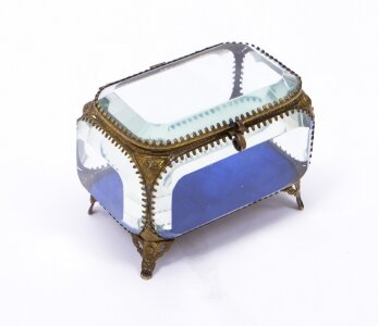 Antique French Ormolu &amp Glass Table Wedding Casket c1880