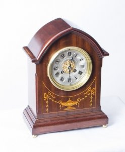 Antique French marquetry Mahogany Mantle Clock