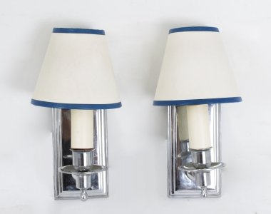 Pair Mid 20th Century Chrome Modernist Wall Lights Sconces French