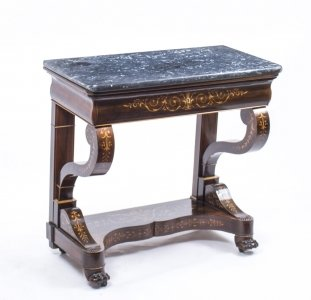 Antique Charles X Period Rosewood Inlaid Console Table
