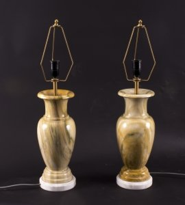 Vintage Pair of Peach Table Lamps Late 20th Century