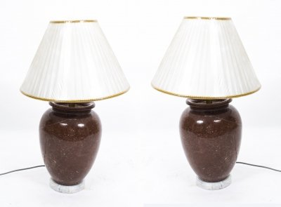 Vintage Pair Red Marble Table Lamps Late 20th Century