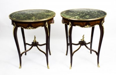 Pair Louis Revival Green Marble Topped Occasional Tables