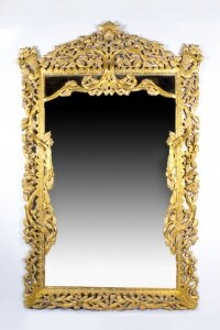 Vintage Huge 8FT Decorative Rectangular Giltwood Mirror 234 x 145 cm
