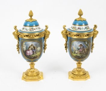 Antique Pair French Bleu Celeste Ormolu Mounted Sevres Lidded vases C1880