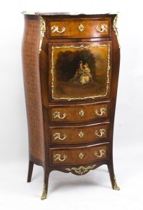 Antique French Vernis Martin &amp Parquetry Secretaire C1880