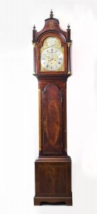 Antique Flame Mahogany &amp Inlaid Longcase Clock, William Pridgin, Hull, C1780