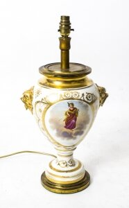 Antique French Hand Painted &amp Gilt Porcelain Lamp