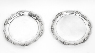 Antique Pair Paul Storr Sterling Silver Salvers 1810
