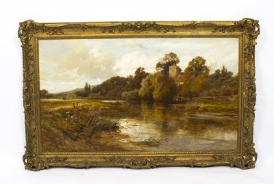 Antique Oil Painting Caversham Church John Horace Hooper