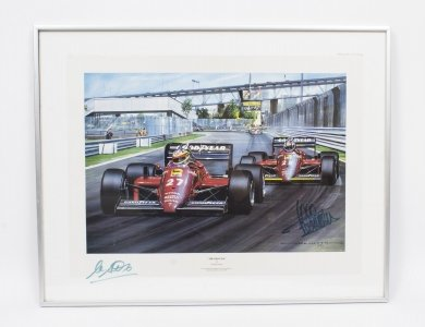 Vintage F1 Print signed by Alboretto &amp Rene Arnoux C1985
