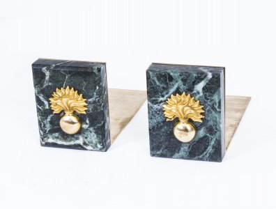 Attractive Pair Grenadier Guards Breccia Marble Bookends