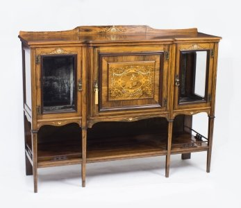 Antique Rosewood &amp Ivory Inlaid Salon Side Cabinet