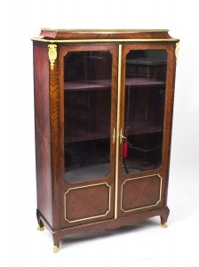 Antique French Ormolu Mounted Kingwood Display Cabinet