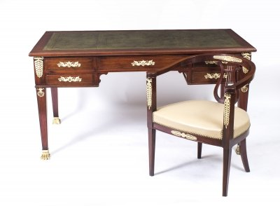 Antique French Empire Ormolu Mounted Desk &amp Chair C1880