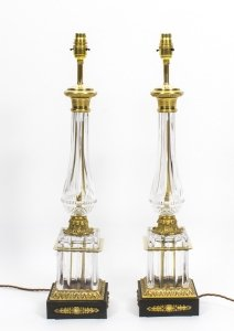 Vintage Pair French Empire Style Crystal Lamps C1930