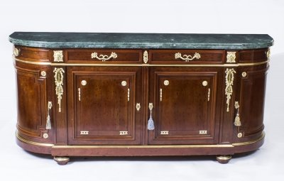 Antique French Mahogany &amp Marble Bowfront Sideboard C1880