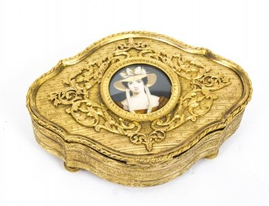Antique Gilt Bronze Jewellery Casket &amp Miniature
