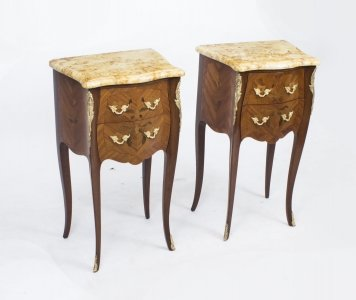 Antique Pair French Marquetry Tulipwood Bedside Cabinets c1900 | Ref. no. 07979 | Regent Antiques