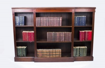 Antique Edwardian Mahogany Breakfront Open Bookcase c.1900 | Ref. no. 08050
