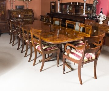 Flame Mahogany 10ft Regency Style Dining Table &amp 10 Chairs