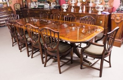 Bespoke 10 ft Flame Mahogany Twin Pillar Dining Table &amp 10 Chairs