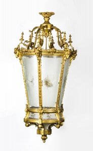 "Vintage Monumental 5ft6"" Gilt Bronze 6 Light Hall Lantern 20thC 