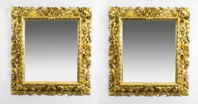 Antique Pair Florentine Giltwood Mirrors c.1870 - 104 x 94 cm | Ref. no. 08108 | Regent Antiques