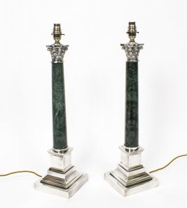 Pair Green Marble &amp Silver Plate Corinthian ColumnTable Lamps