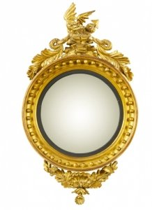 Antique English Regency Giltwood Convex Mirror C1820