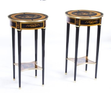 Pair Louis XVI Style Walnut &amp Ebonised Occasional Tables