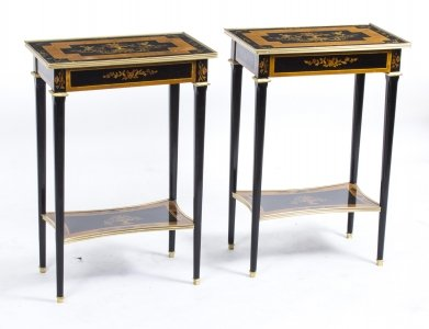 Pair Louis XVI Style Walnut In laid Occasional Tables