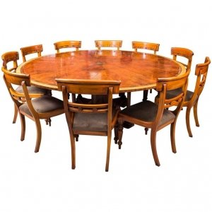 Theodore Alexander 7ft diameter Flame Mahogany Jupe Dining Table &amp 10 chairs