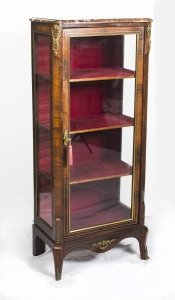 Antique French Rosewood Brass Inlaid Display Cabinet