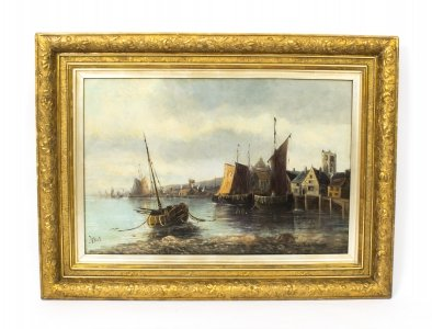 Antique Oil Painting Fishing Boats at Moorings, J.Balie C1880