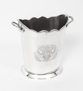 Gorgeous Silver Plated Twin Handled Champagne Cooler