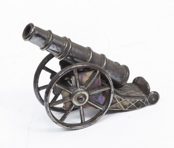 Vintage Decorative Desktop Iron Artillery Cannon 20th C