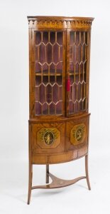 Antique English Edwardian Satinwood Corner Display Cabinet