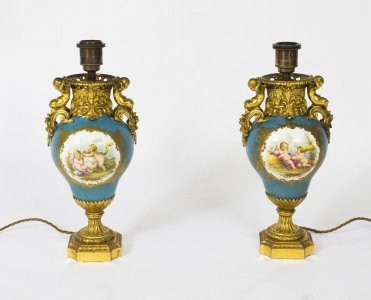 Antique Pair French Ormolu Mounted Sevres vases lamps C1870