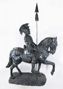 Life Size Bronze Roman Armoured Cavalry Officer on Horseback