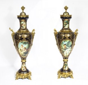 Pair Huge 5ft 6inch Gilded French Sevres Style Blue Porcelain Vases
