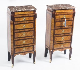 Antique Pair French Kingwood &amp Rouge Marble Top Bedside Chests Cabinets c1870