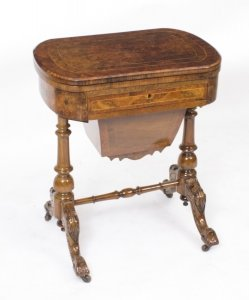 Antique Victorian Burr Walnut Games Work Table