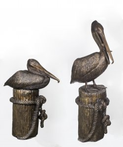 Huge Pair Solid Bronze Pelicans on Mooring Posts Fountains 20th C