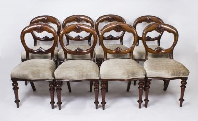 Antique Set 8 Victorian Balloon Back Mahogany Dining Chairs