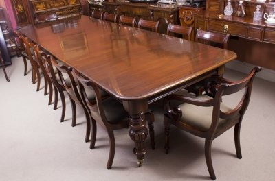 Antique Victorian 12 ft Flame Mahogany Dining Table &amp 14 chairs