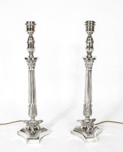 Pair of Silver Plated Empire Style Table Lamps