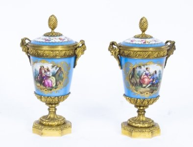 Antique Pair French Ormolu Mounted Sevres Lidded Urns Vases C1860