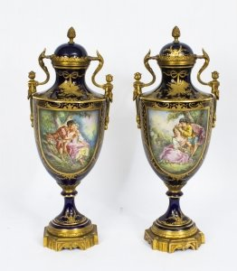 Antique Pair Ormolu Mounted Sevres Style Lidded Urns Vases C1910